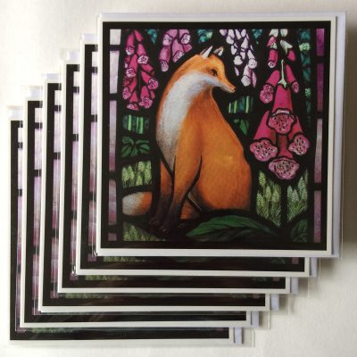 Rachel-Mulligan-6xGreetings Cards - Fox in Foxgloves