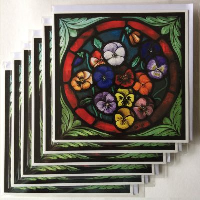 Rachel-Mulligan-6xGreetings Cards - Pansies