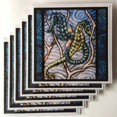 Rachel-Mulligan-6xGreetings Cards - Seahorses