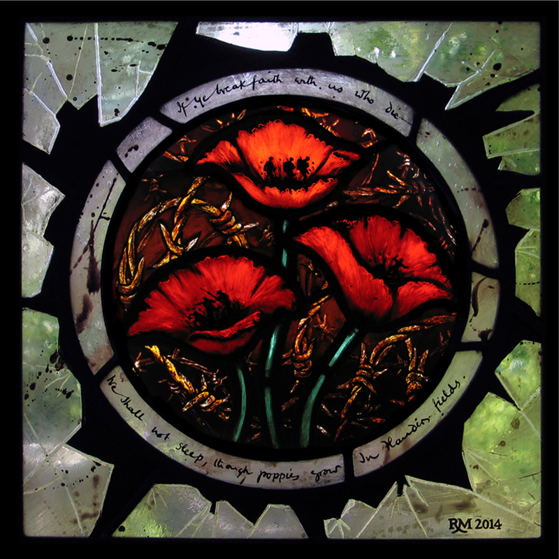 Stained glass artist Rachel Mulligan - Wall Photo Poppies