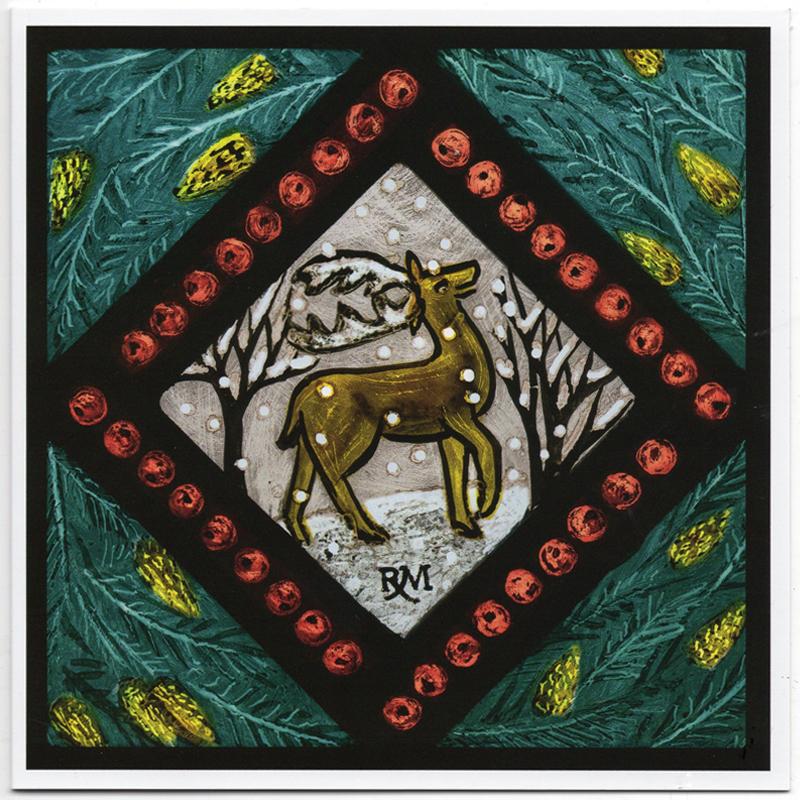 Pack of Five Christmas Cards - Winter Wildlife Deer - Rachel ...
