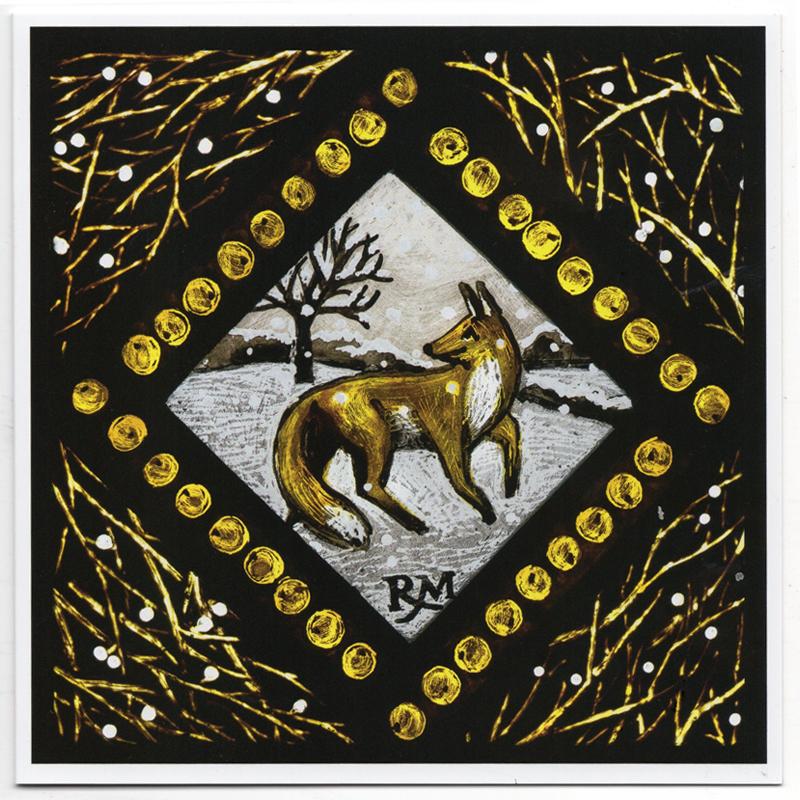 Pack of Five Christmas Cards - Winter Wildlife Fox - Rachel Mulligan ...